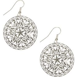 Bay Studio Silver Tone Filigree Disc Earrings