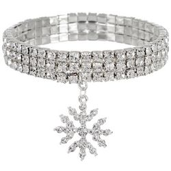 Rhinestone Snowflake Charm Bracelet