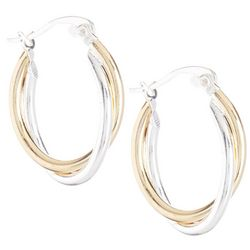 Two Tone Double Hoop Earrings