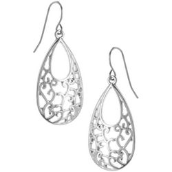 Bay Studio Filigree Silver Tone Teardrop Earrings