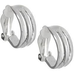 Bay Studio Silver Tone Cutout C Hoop Clip On Earrings