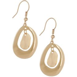 Bay Studio Gold Tone Oval Ring Disc Drop Earrings