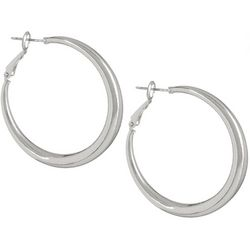 Bay Studio Silver Tone Polished Round Hoop Earrings