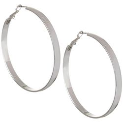 Bay Studio Silver Tone Large Clutchless Hoop Earrings