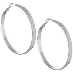 Bay Studio Silver Tone Large Clutchless Hoop Earrings