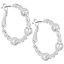 Bay Studio Silver Tone 24mm Rope Hoop Earrings