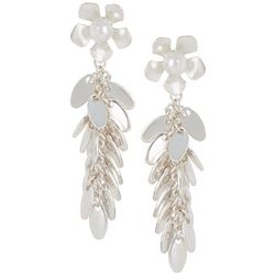 Bay Studio Faux Pearl Flower Leaf Cluster Dangle Earrings