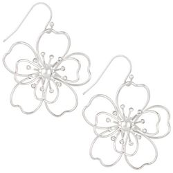 Bay Studio Silver Tone Wire Flower Drop Earrings