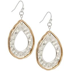Bay Studio Two Tone Hammered Teardrop Earrings