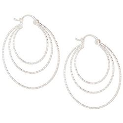 Bay Studio Triple Row Textured Silver Tone Hoop