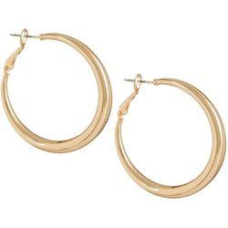 Bay Studio Polished Gold Tone Hoop Earrings
