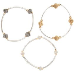 Bay Studio Tri Tone Bee Hive Ball Stretch Bracelet Set