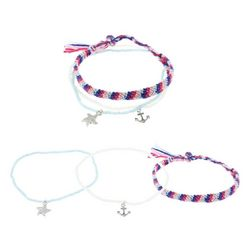 Ballet 3 Pc Silver Tone Nautical Seed Bead Anklet Set