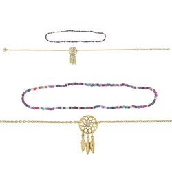 Ballet 2 Pc Gold Tone Seed Bead & Dream Catcher Necklace Set