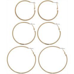Nautica Gold Tone Clutchless Hoop Earring Set