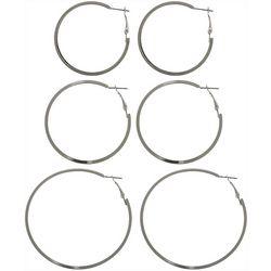 Nautica 3 Silver Tone Clutchless Hoop Earring Set