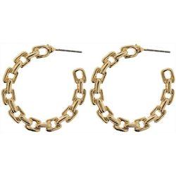 Nautica 32mm Gold Tone Link CHoop Earrings