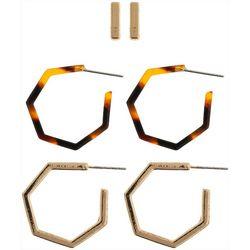 Nautica Gold Tone Bar & Hoop Trio Earrings