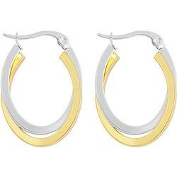 Bay Studio Two Tone 30mm Oval Hoop Earrings