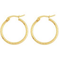 Bay Studio Gold Tone 20mm Textured Hoop Earrings