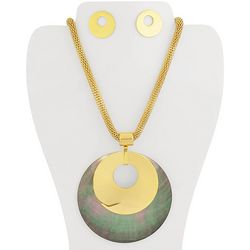 Bay Studio Gold Tone Shell Overlay Necklace & Earring Set