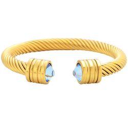 Bay Studio Aqua Blue Gold Tone Rope Cuff