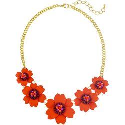 Bay Studio Gold Tone Floral Enamel Frontal Necklace