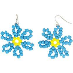 Bay Studio Silver Tone Bead Flower Threader Drop Earrings