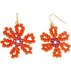 Bay Studio Gold Tone Bead Flower Threader Drop Earrings
