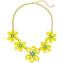 Bay Studio Gold Tone Open Bead Floral Frontal Necklace