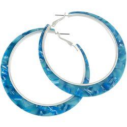 Bay Studio Silver Tone Marble Hoop Earrings