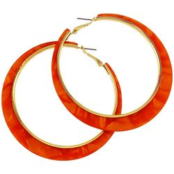 Bay Studio Gold Tone Marble Hoop Earrings