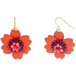 Beaded Flower Drop Earrings