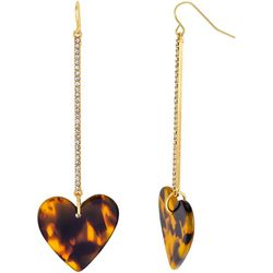 Bay Studio Rhinestone Linear Animal Print Heart Earrings