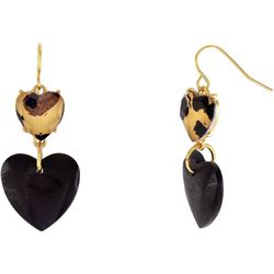 Bay Studio Animal Print Double Heart Earrings