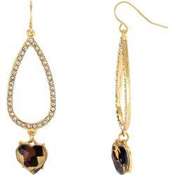 Bay Studio Crystal Teardrop Animal Heart Earrings