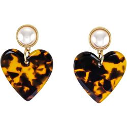 Bay Studio Faux Pearl Animal Print Heart Earrings
