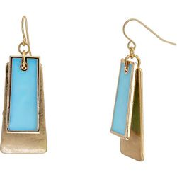 Bay Studio Gold Tone & Blue Layered Rectangle Drop Earrings