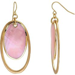 Bay Studio Gold Tone Pink Shell Oval Drop Earrings