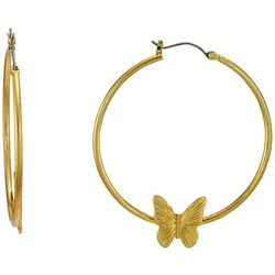 Bay Studio Gold Tone Butterfly Hoop Earrings