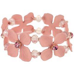 Bay Studio Pink Flower Stretch Bracelet