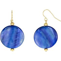 Bay Studio Blue Shell Disc Drop Earrings