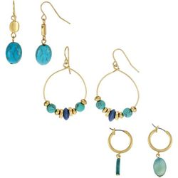 Bay Studio Trio Turquoise Beaded Goldtone Earrings