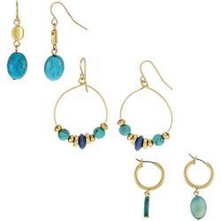 Trio Turquoise Beaded Goldtone Earrings
