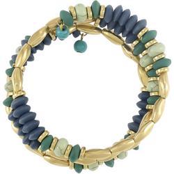 Gold & Cool Tone Beaded Coil Bracelet