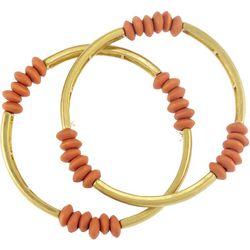 Bay Studio 2 Pc Gold Tone Coral Beaded Bangle Bracelet Set