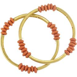 2 Pc Gold Tone Coral Beaded Bangle Bracelet Set