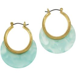 Bay Studio Turquoise Moon Accented Small Hoop Earrings