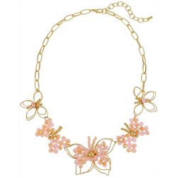 Bay Studio Goldtone Butterfly Beaded Frontal Necklace
