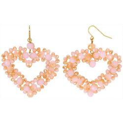 Bay Studio Goldtone Beaded Heart Drop Earrings